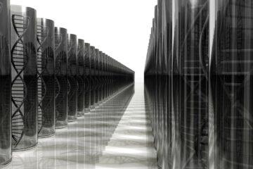 dos filas de cilindros de vidrio, dentro de los cuales hay estructuras con forma de hélices de ADN