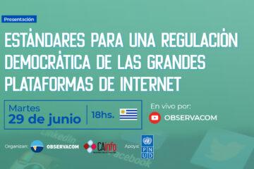 Flyer del evento de la presentación de la propuesta de estándares para una regulación democrática de las grandes plataformas de Internet